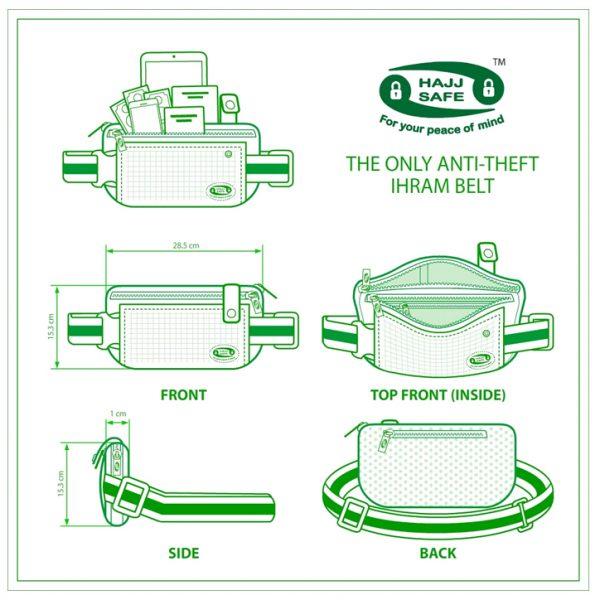 Hajj Safe - Anti-Theft Waist Bag and Ihram Belt - Large