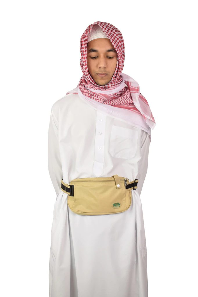 Hajj Safe - Anti-Theft Waist Bag and Ihram Belt - Large