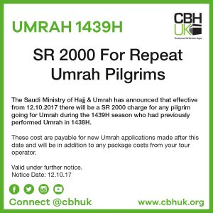 SR2000 for Repeat Umrah Pilgrims 1439H | CBHUK