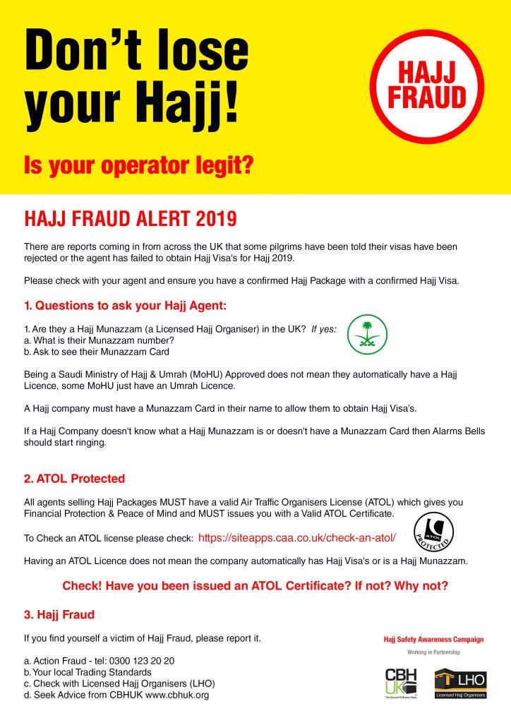 HAJJ FRAUD ALERT 2019 - Don't Lose Your Hajj! | CBHUK