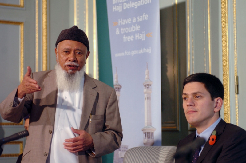 Lord Patel of Blackburn, Head of the Delegation with Foreign Secretary David Miliband at the launch of the 10th British Hajj Delegation, 27 October 2009