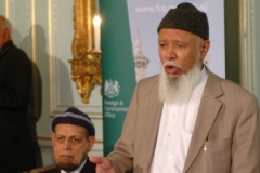 Lord Patel of Blackburn, Head of the Delegation with Dr Syed Mohiud-din, Chief Doctor at the launch of the 10th British Hajj Delegation, 27 October 2009
